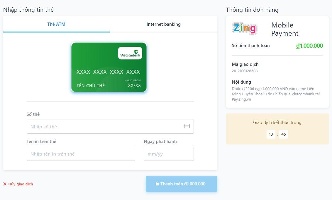 Cách nạp thẻ Liên Minh Tốc Chiến bằng ATM
